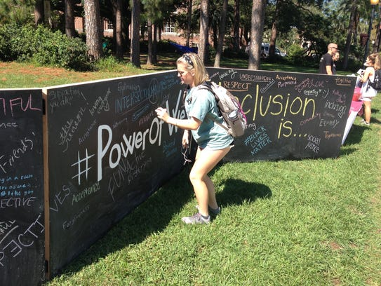 An FSU student prepares to add her thoughts on diversity