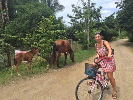 In the Costa Rican town of Samara, horses amble along