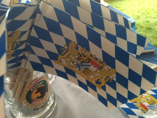 Miniature Bavarian flags for sale at the Stowe Oktoberfest.