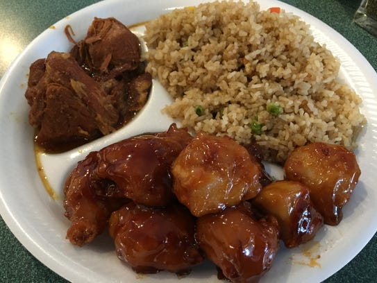 Roast pork, General Tsu chicken and fried rice at Far