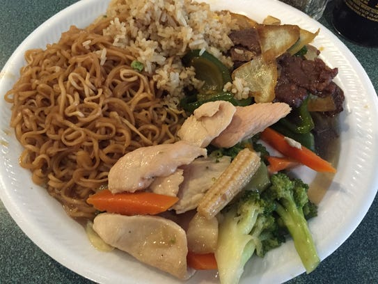 Chow Mein noodles, fried rice,  pepper steak and chicken
