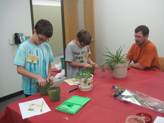Lee and Kekoa work with plants in a session led by