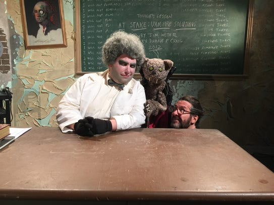 Professor Ghoul (Mike Degnan), Shotzi the cat and Shotzi,