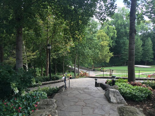 Paved trails in Falls Park in Greenville, South Carolina.