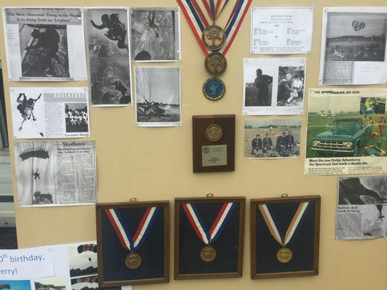 Medals and newspaper clippings from as far back as