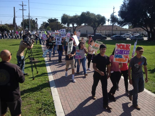 Marchers return to Closter Park in Salinas on Saturday