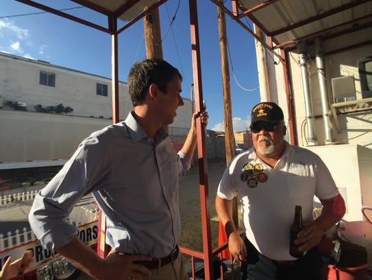 U.S. Rep. Beto O'Rourke talks to veterans on Saturday