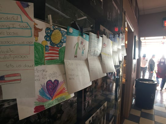 Handwritten and decorated cards for veterans from Mission