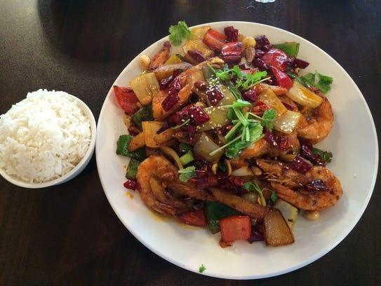 Crispy spicy chili shrimp, and rice, at Bashu Chinese