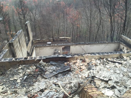 The remains of the Gatlinburg home owned by Michael
