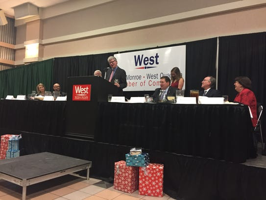 Doug Caldwell accepts the West Monroe-West Ouachita