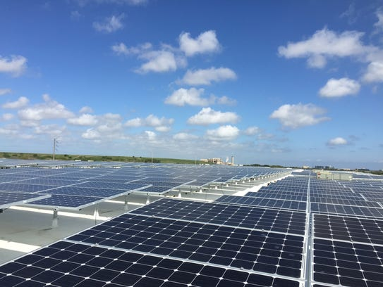 About 3,300 solar panels were installed atop the J.J.