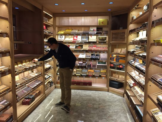 Sam Souhail in Casablanca's humidor.