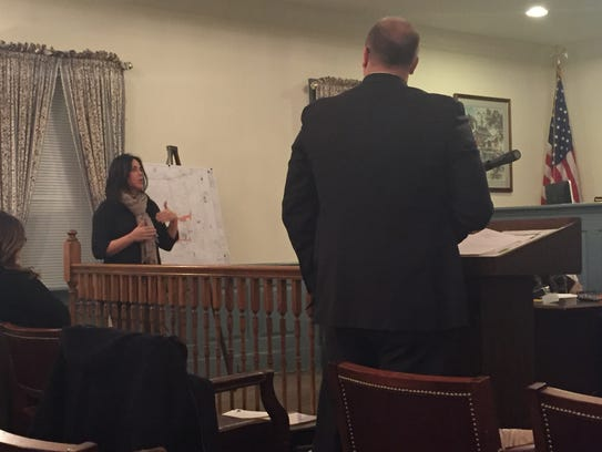 Tracey Stewart testifies before the Colts Neck planning