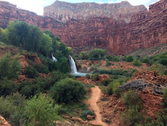Upper Navajo Falls is the first waterfall hikers see