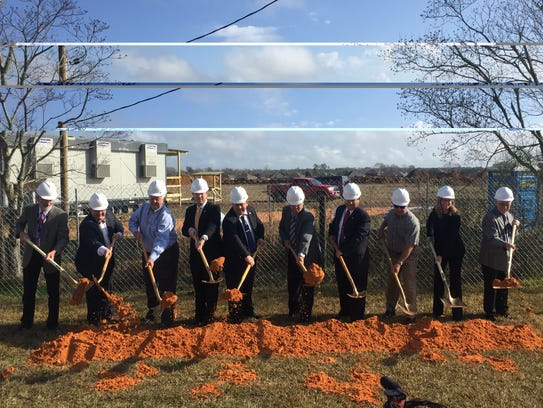 Local officials break ground at a new elementary school