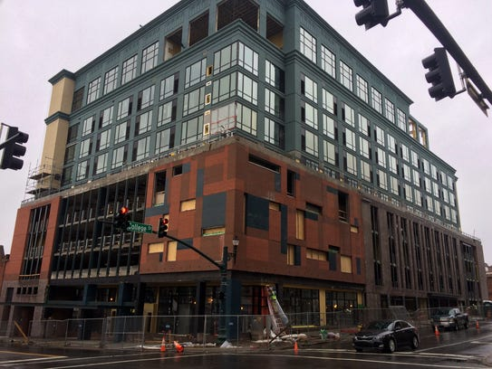 The AC Hotel in downtown Asheville, at the corner of