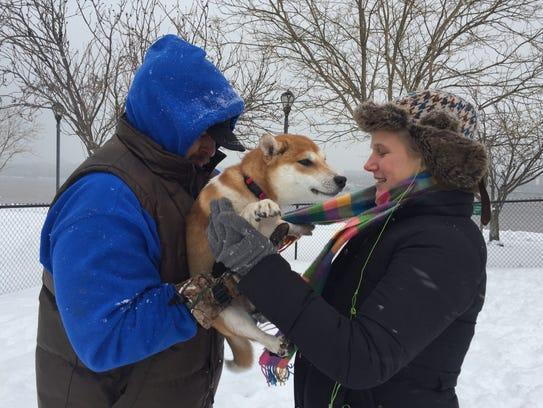 Chris and Julia Brady with their dog, Talia.