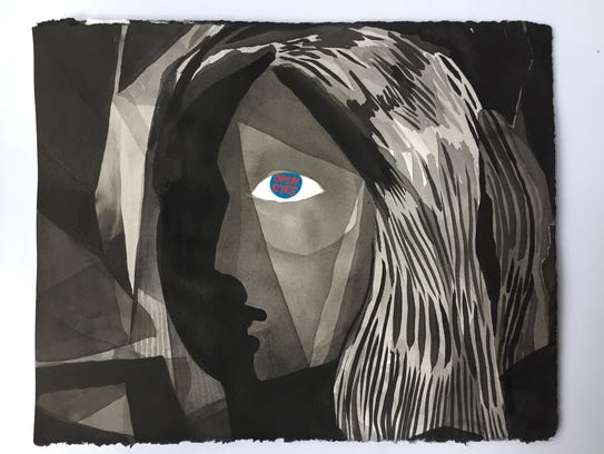 """An ink and acrylic on paper artwork named """"Open Eyes"""""""