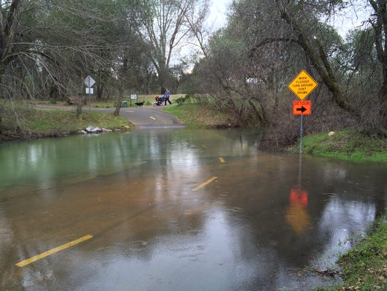 Portions of the Sacramento River Trail were flooded