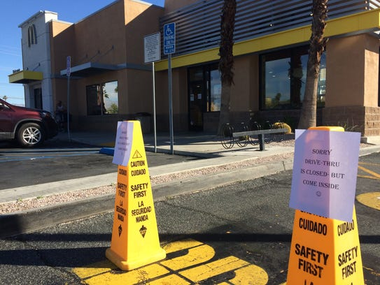 A Palm Springs McDonald's restaurant closed its drive-thru