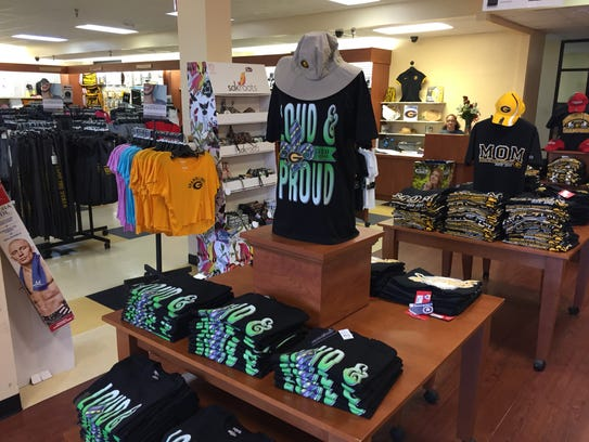 T-shirts are on display at Grambling's campus bookstore.