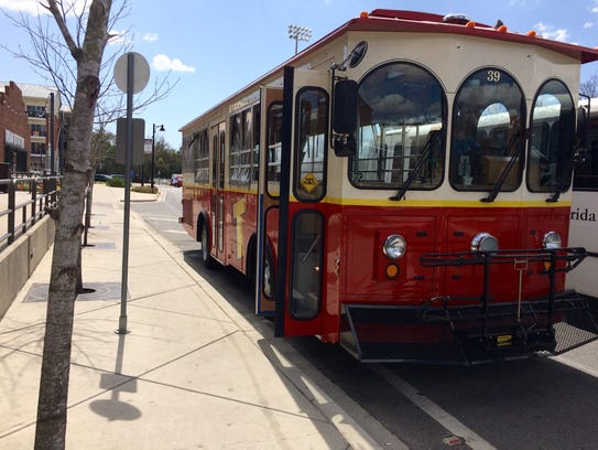Trolley makes lunch time routes from downtown.