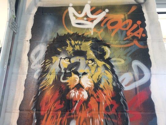 The Lion of Nemea, part of the Greek mythology in graffiti