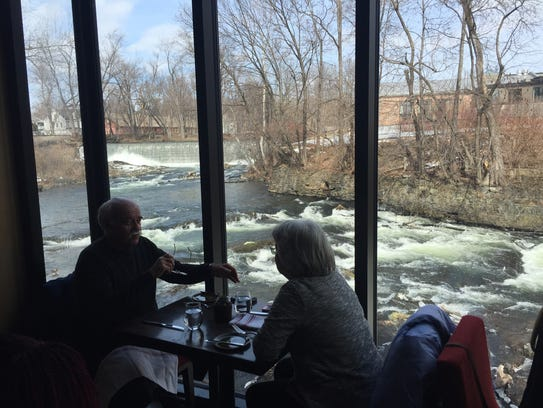 The view of the falls from the dining room of The Roundhouse