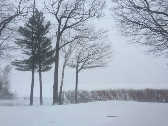 Winter Storm Stella seen on the ground from the shore