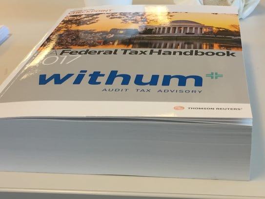 The federal tax handbook, belonging to Barry Shapiro,
