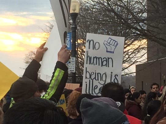 Several hundred protesters gathered outside Sheboygan