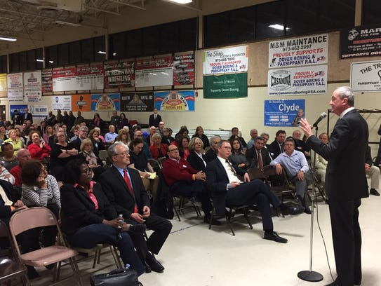 Phil Murphy speaks at the Parsippany PAL building during
