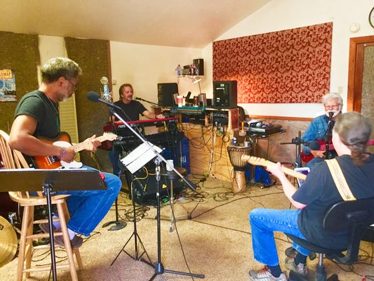 Jamie Estes and Friends band practicing for the Gospel