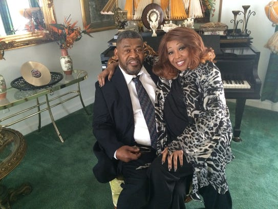 Longtime singer Denise LaSalle sitting with her husband