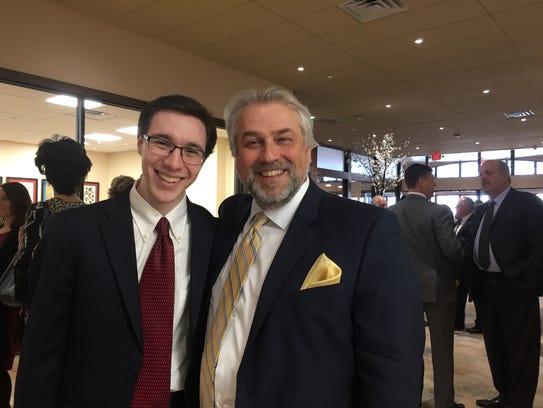 Rutgers student Elliot Linder, left, with Andrew Getraer,