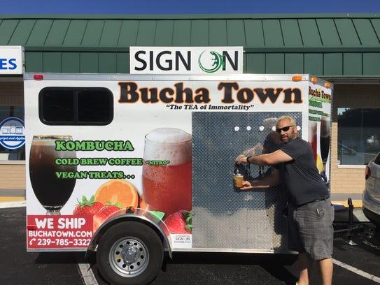 Kris Jacobs, owner of Bucha Town, brews his kombucha