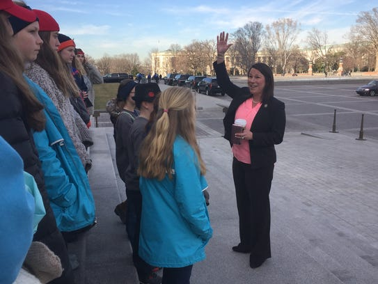 Rep. Martha Roby, R-Ala., frequently meets with constituents from her district when they visit the U.S. Capitol.  Here she met with a group of students.