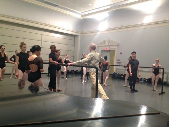 Robert Atwood is pictured teaching a ballet class at