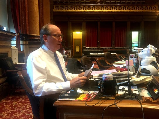 Sen. David Johnson at his desk in the Iowa Senate Chamber.