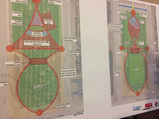 Two layout options for a park in Rome