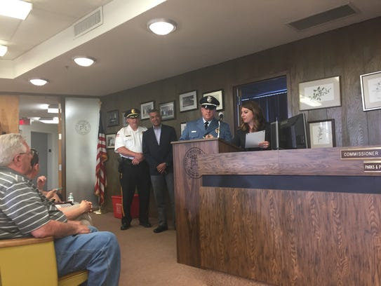 New Millville police Sgt. Daniel Ayars and City Clerk