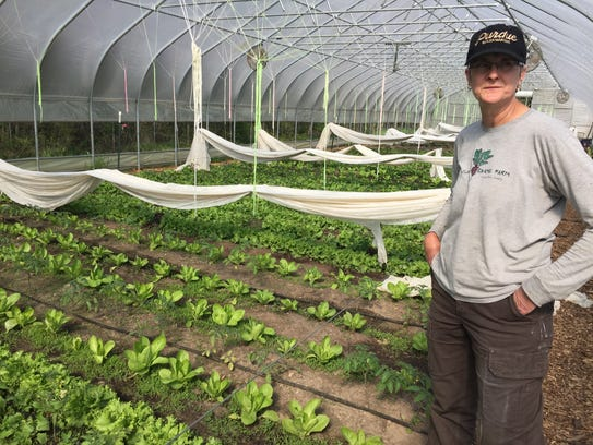 Stone Coop Farm co-founder Joannée DeBruhl stands in