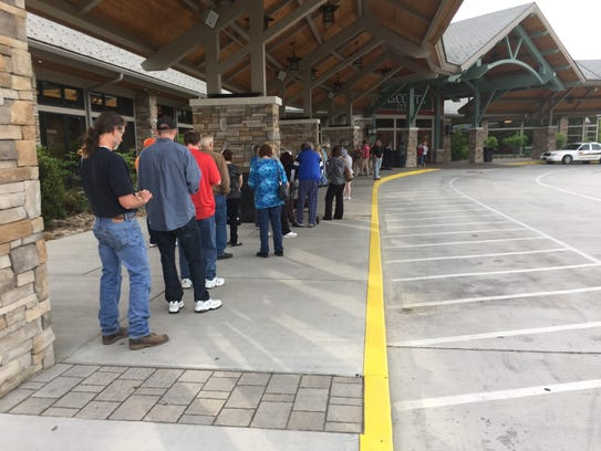 People at the LeConte Center in Pigeon Forge line up