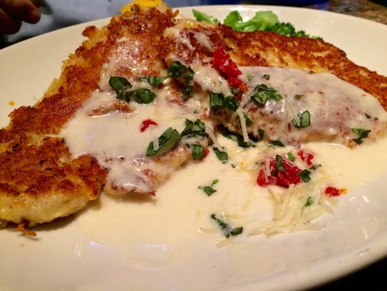 Parmesan-crusted chicken with white cheddar mashed