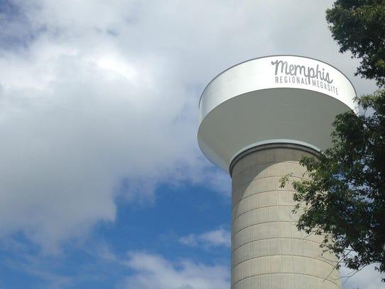 """Memphis Regional Megasite"" is written on a water tower"