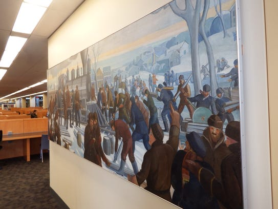 """Mildred Pelzer's 83-year-old mural """"Railroad Arrives"""""""