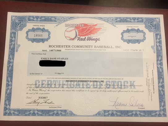 A Rochester Red Wings certificate of stock. The team