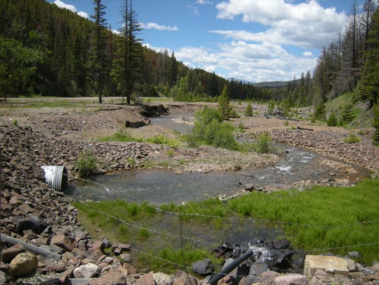 The headwaters of Montana's Blackfoot River, polluted