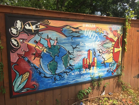 A mural outside of the future Garden Studio in the